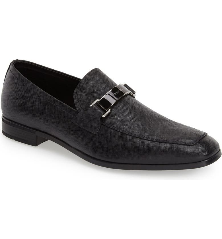 PRADA Saffiano Leather Bit Loafer, Main, color, 001