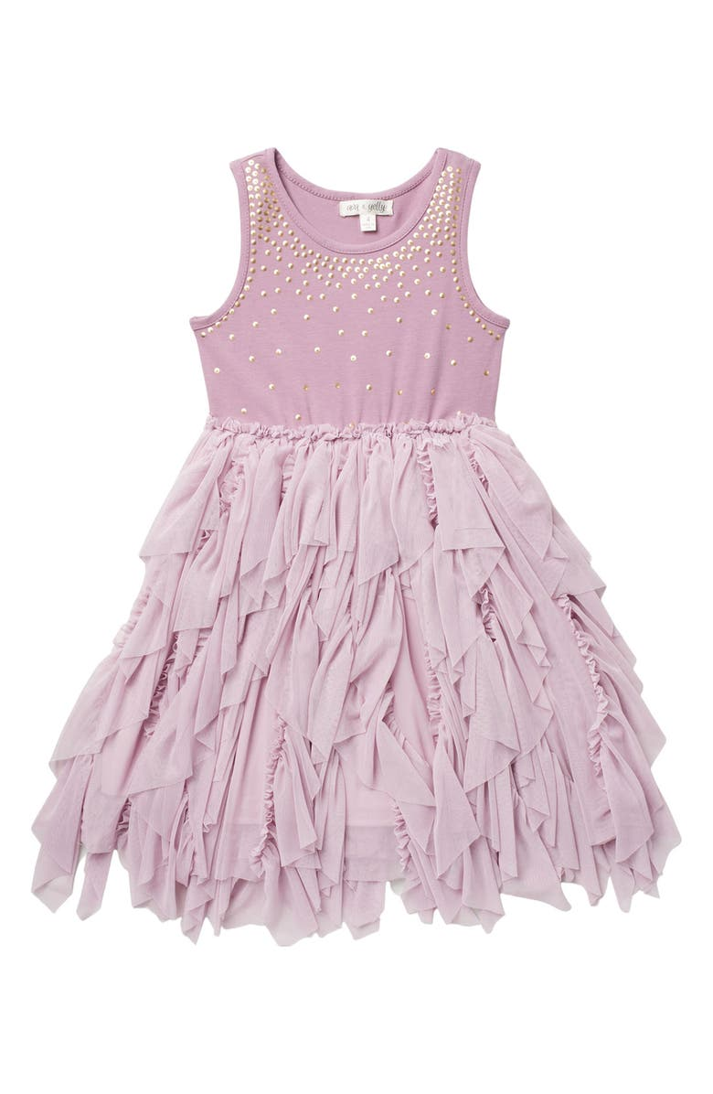 AVA AND YELLY Sequin Sparkle Tutu Dress, Main, color, LILAC