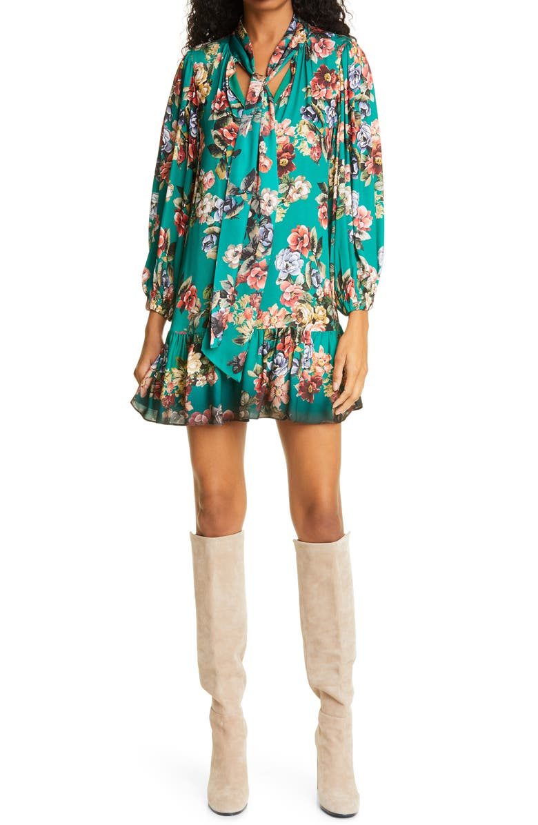 ALICE + OLIVIA Merrilee Floral Long Sleeve Tie Neck Minidress, Main, color, CLOUD DANCER DARK TEAL MULTI