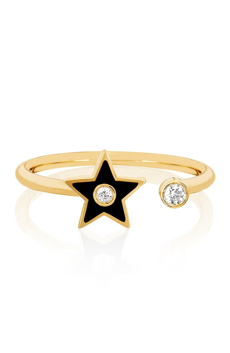 EF COLLECTION 14K Yellow Gold Black Enamel & Diamond Open Star Ring - Size 6 - 0.06 ctw, Main, color, YELLOW GOLD