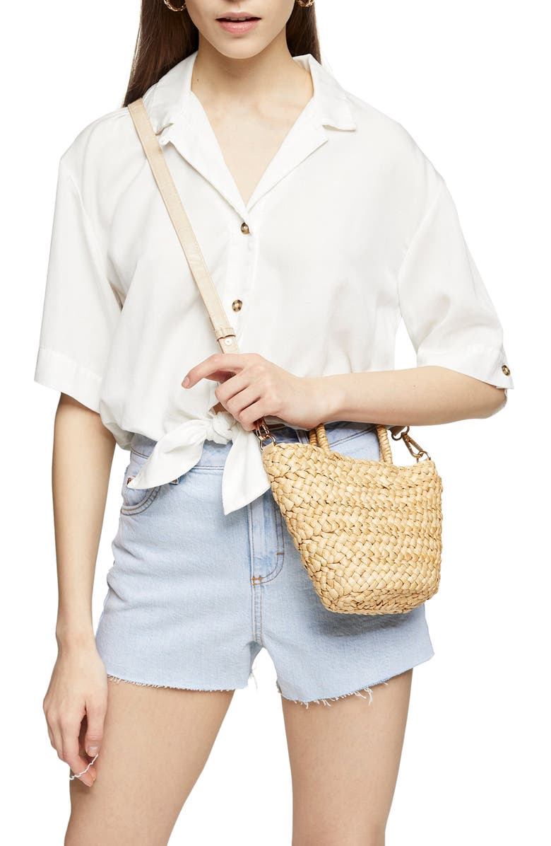 TOPSHOP Demi Casual Knot Front Button-Up Shirt, Main, color, WHITE