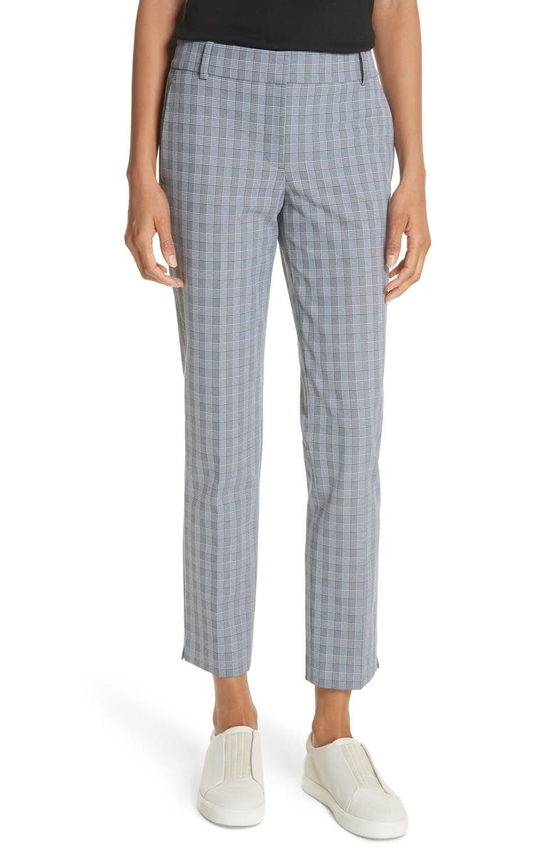 THEORY McClair Plaid Straight Trousers, Main, color, BLACK/ WHITE