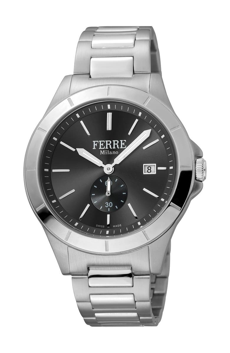 FERRE MILANO Men's Stainless Steel Watch, 43mm, Main, color, SILVER