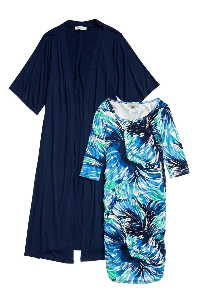 ANGEL MATERNITY Ruched Body-Con Maternity Dress & Cardigan, Main, color, BLUE/ NAVY