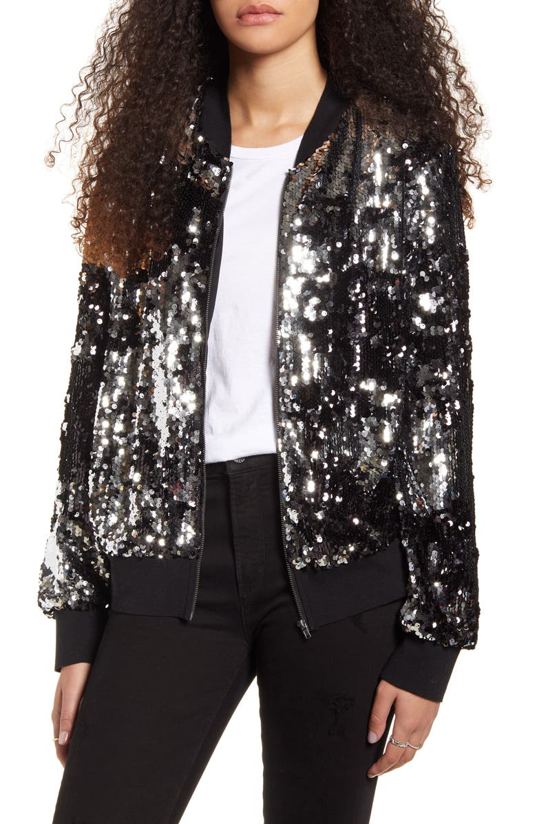 SOCIALITE Sequin Bomber Jacket, Main, color, 001