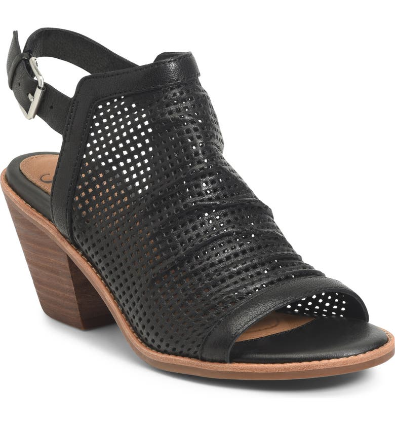 SÖFFT Milly Perforated Sandal, Main, color, BLACK LEATHER