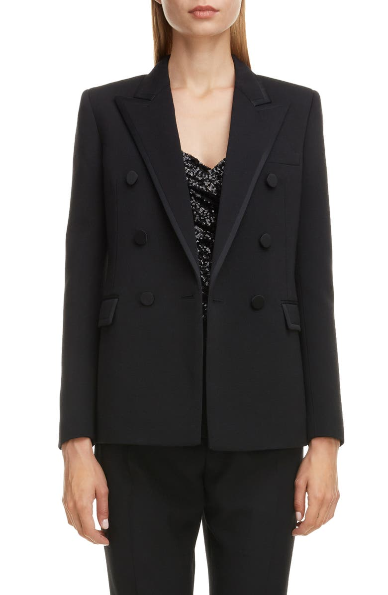 SAINT LAURENT Piped Double Breasted Jacket, Main, color, 001