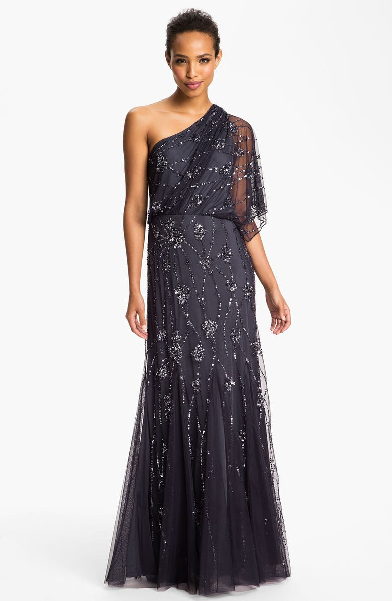 ADRIANNA PAPELL Beaded One Shoulder Blouson Gown, Main, color, 020