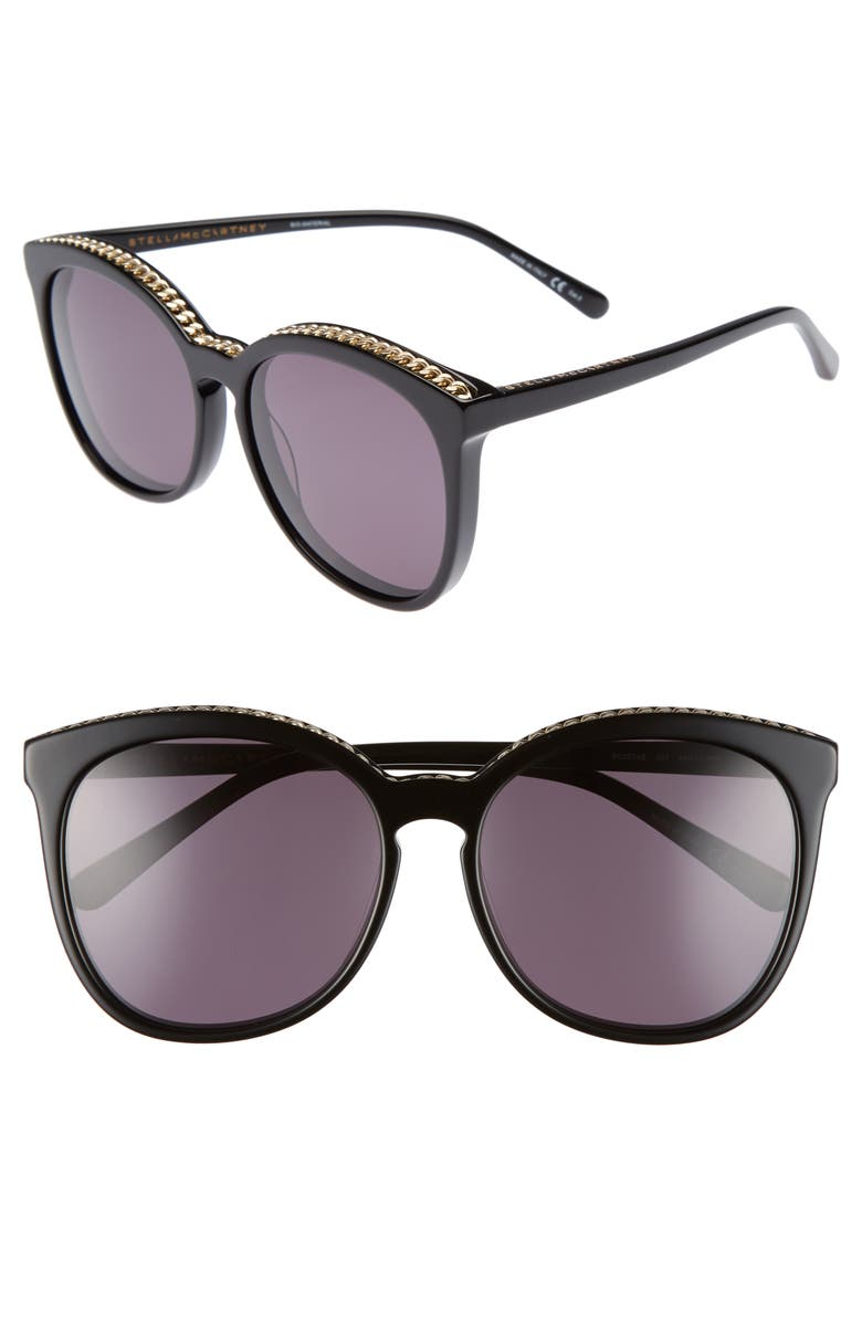 STELLA MCCARTNEY 59mm Cat Eye Sunglasses, Main, color, 001
