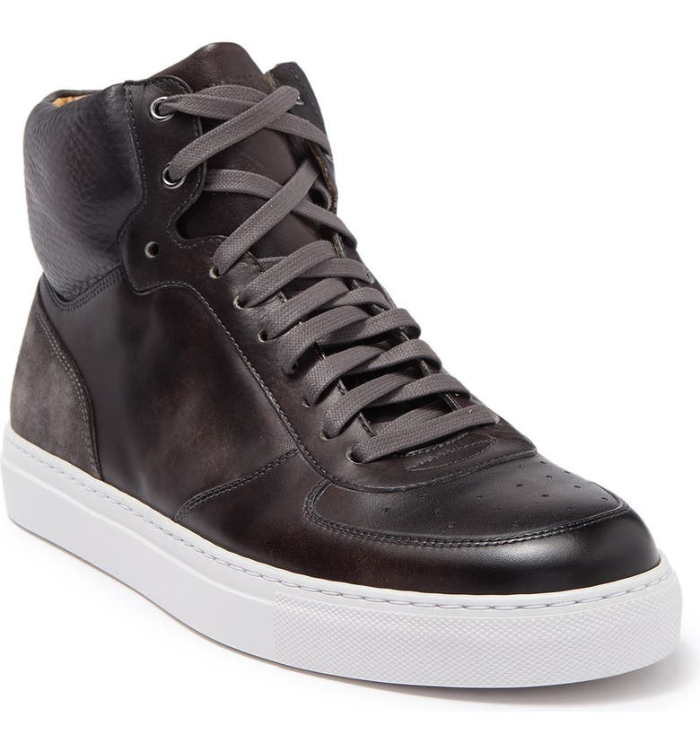 MAGNANNI Royal Leather High Top Sneaker, Main, color, GREY