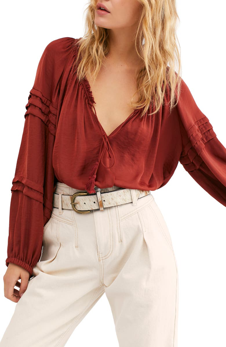 FREE PEOPLE All Tucks Long Sleeve Bodysuit, Main, color, 300