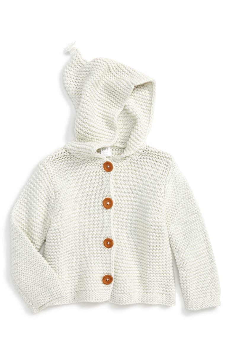 NORDSTROM Baby Organic Cotton Hooded Cardigan, Main, color, IVORY EGRET HEATHER