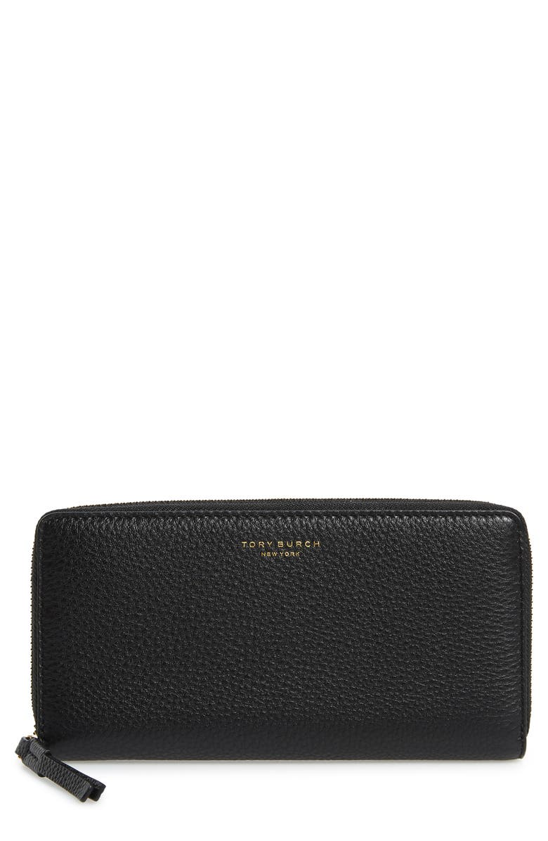 TORY BURCH Perry Leather Continental Zip Wallet, Main, color, Black