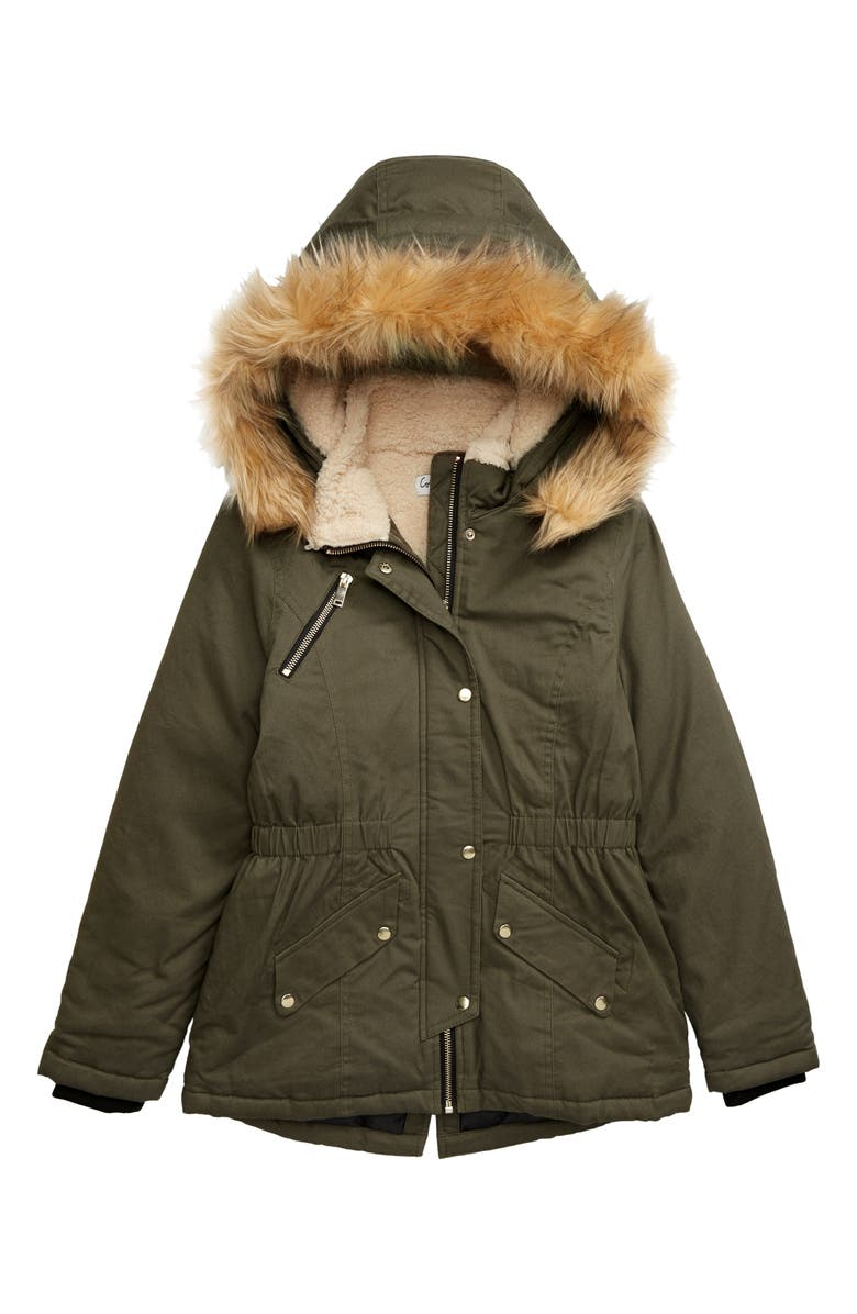 COFFEE SHOP Faux Fur Trim Parka, Main, color, 303