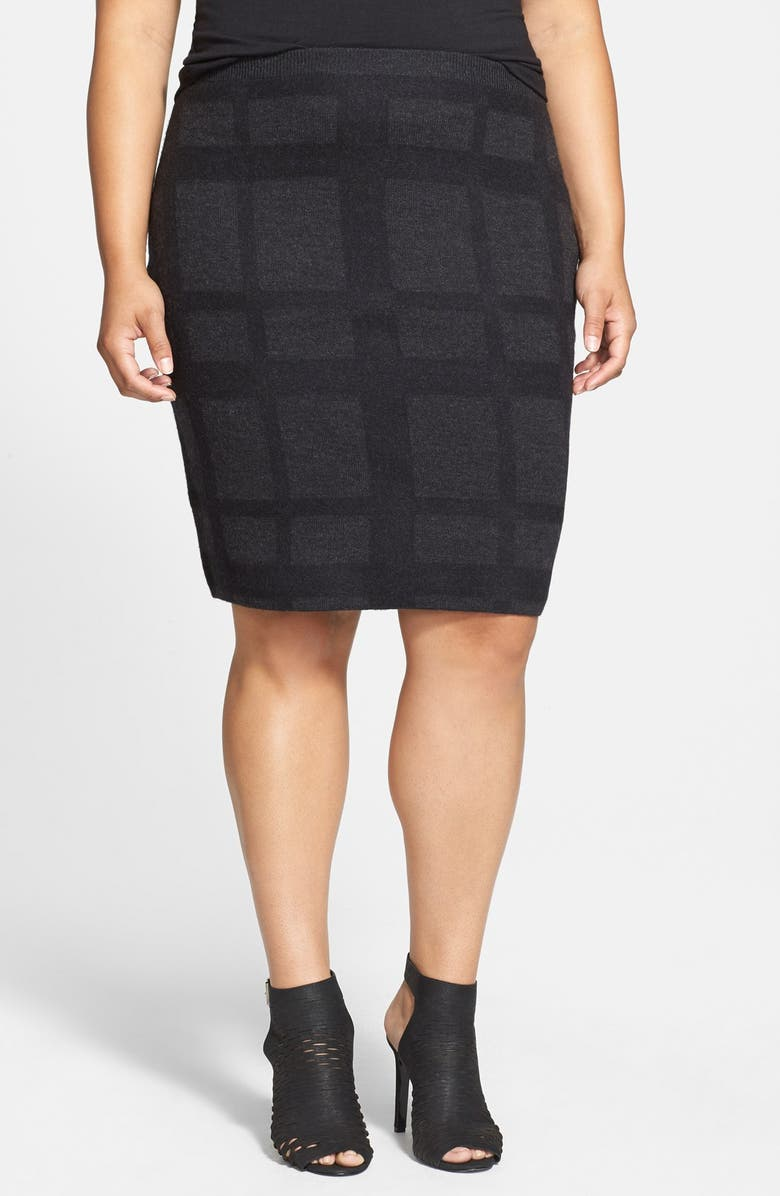 EILEEN FISHER Plaid Felted Wool Knit Skirt, Main, color, BLACK/ BLACK