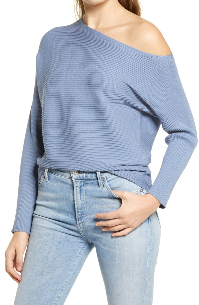 TREASURE & BOND One-Shoulder Pullover, Main, color, BLUE INFINITY
