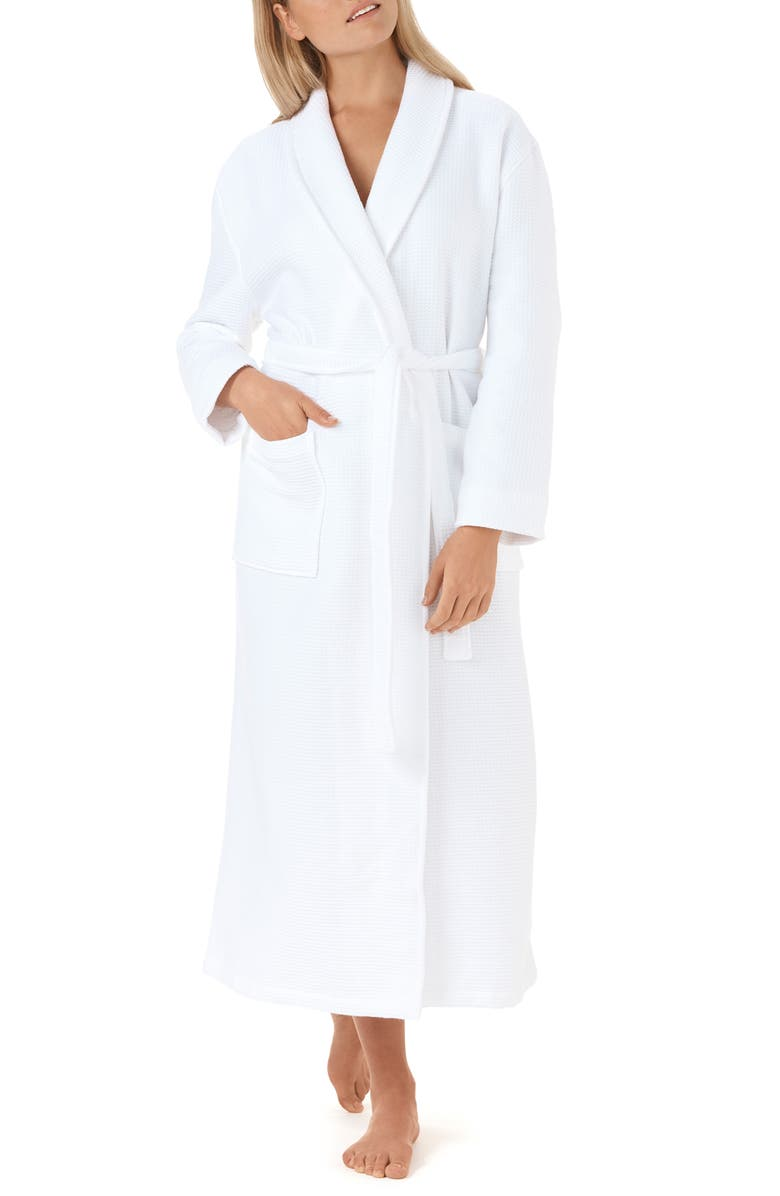 THE WHITE COMPANY Unisex Waffle Terry Robe, Main, color, WHITE