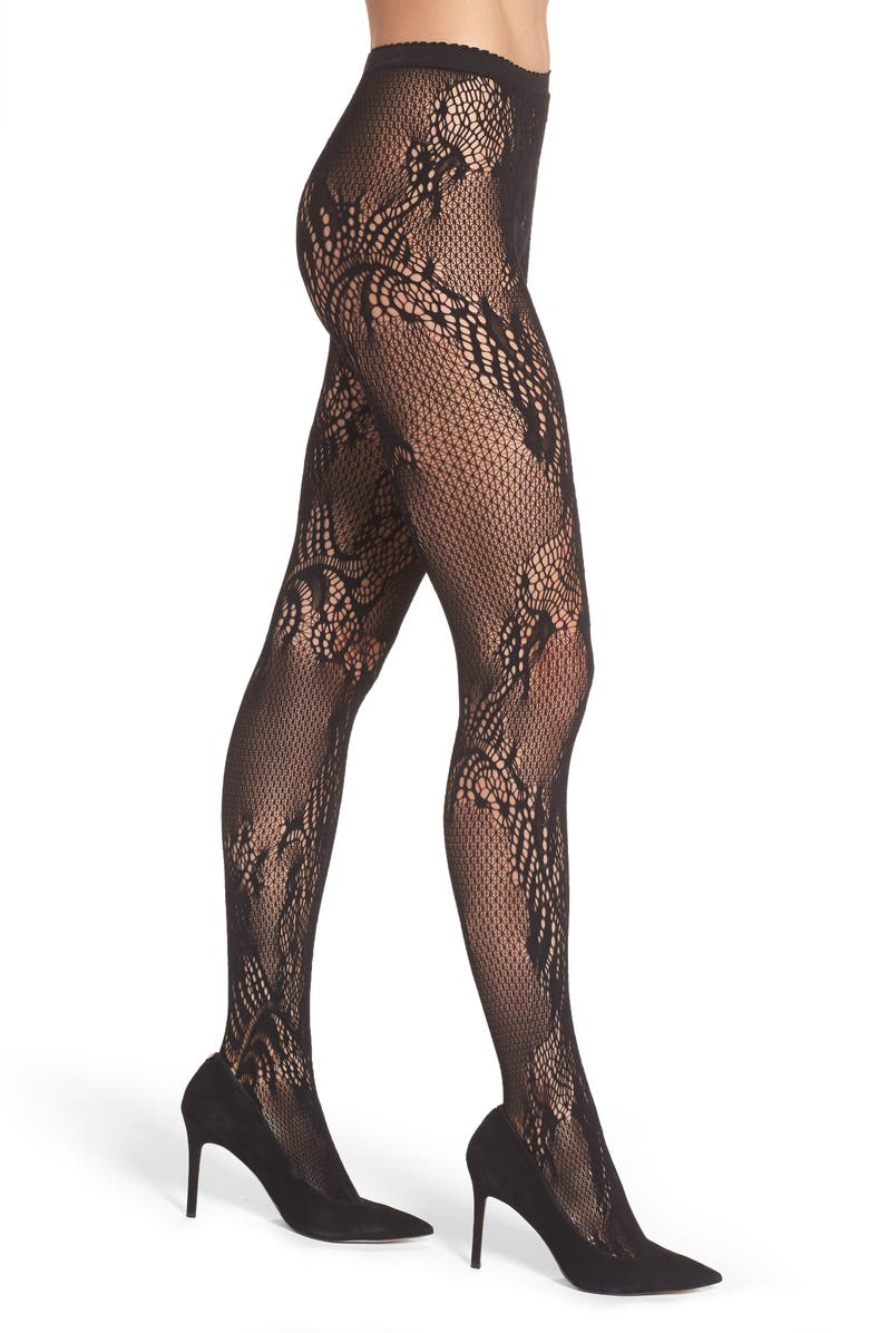NATORI Feather Lace Fishnet Tights, Main, color, BLACK