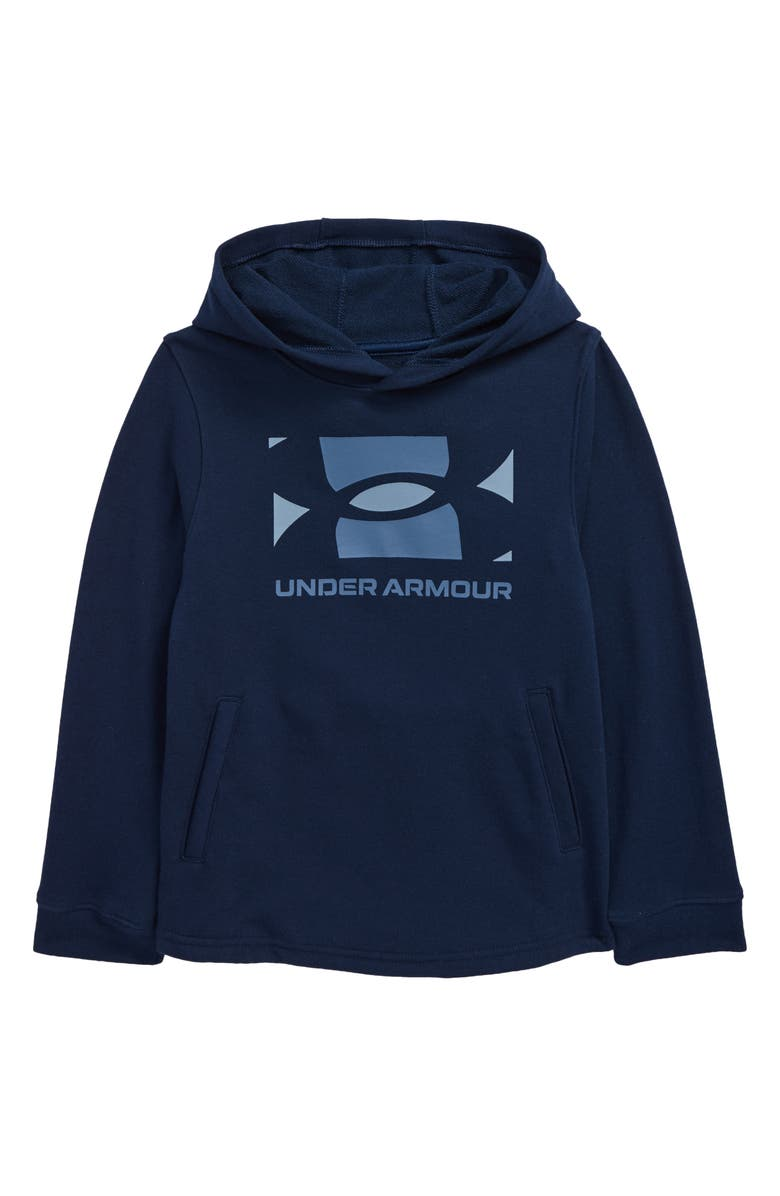 UNDER ARMOUR Kids' Rival Logo French Terry Hoodie, Main, color, ACADEMY / / WASHED BLUE