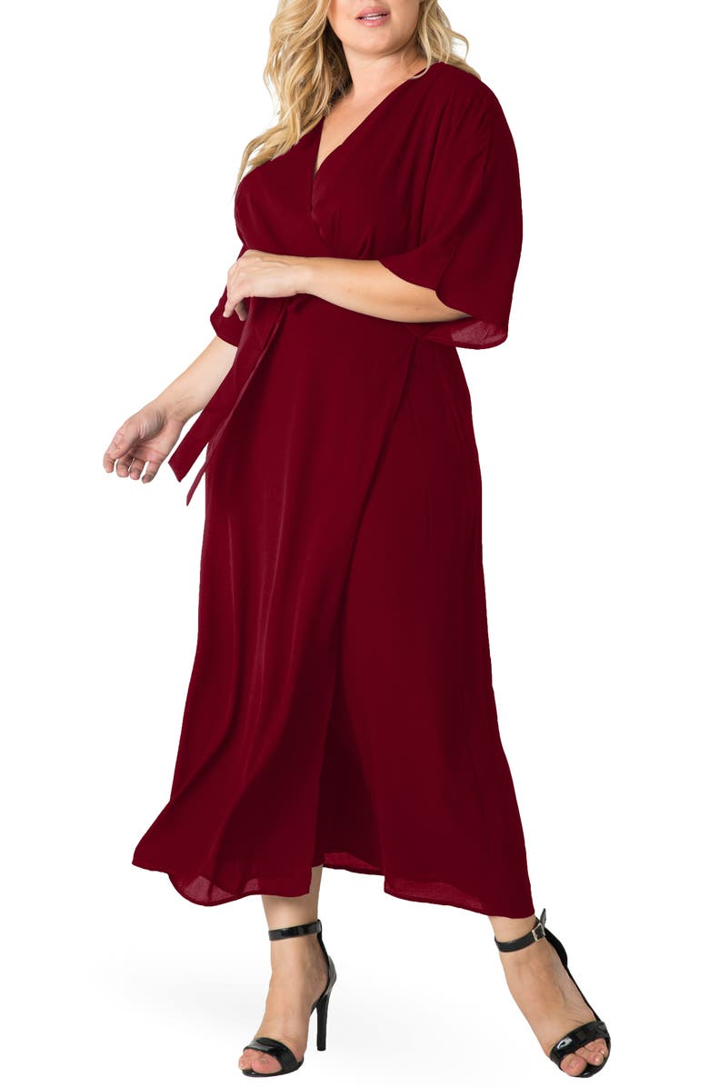 STANDARDS & PRACTICES Short Sleeve Wrap Maxi Dress, Main, color, DEEP RED