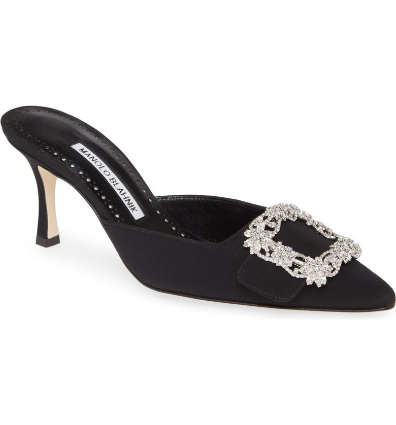 MANOLO BLAHNIK Maysale Buckle Pointed Toe Mule, Main, color, BLACK/ CLEAR CRYSTAL BUCKLE