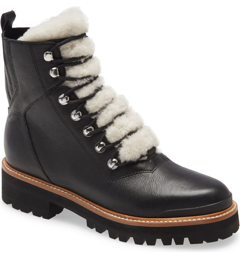 MARC FISHER LTD Izzie Genuine Shearling Lace-Up Boot, Main, color, BLACK LEATHER