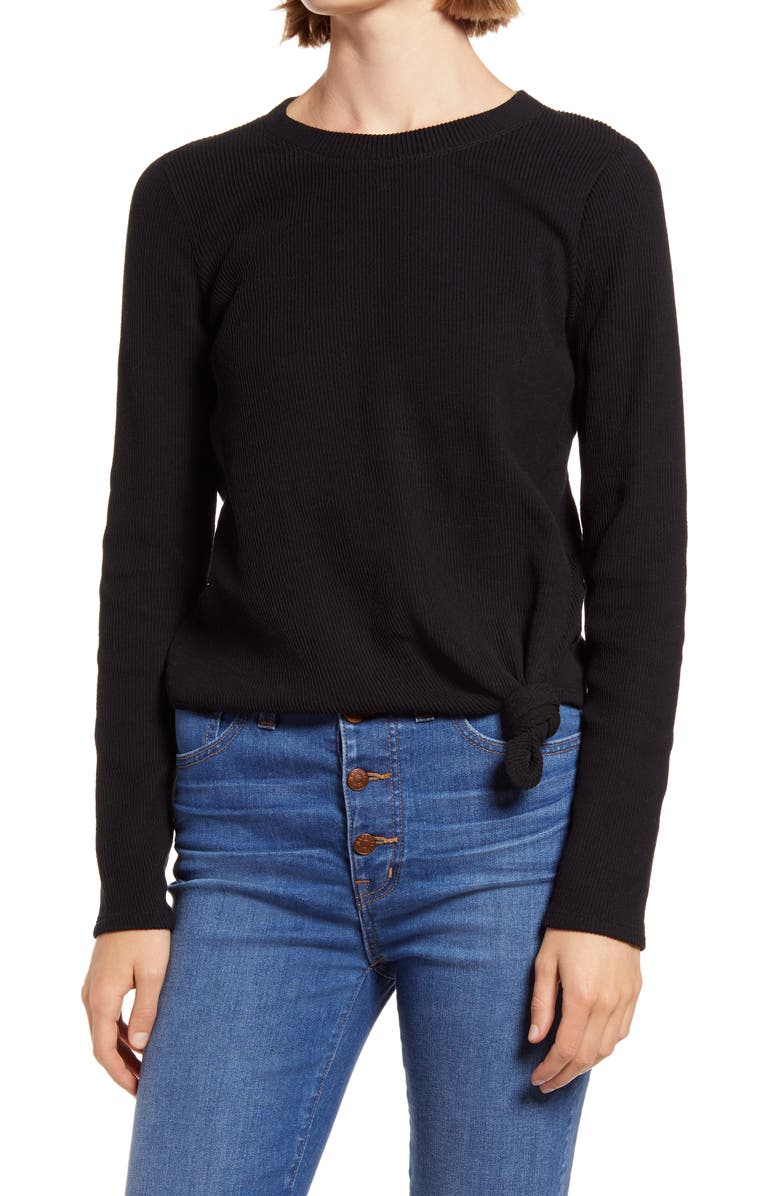 MADEWELL Texture & Thread Front Knot Jacquard Top, Main, color, TRUE BLACK