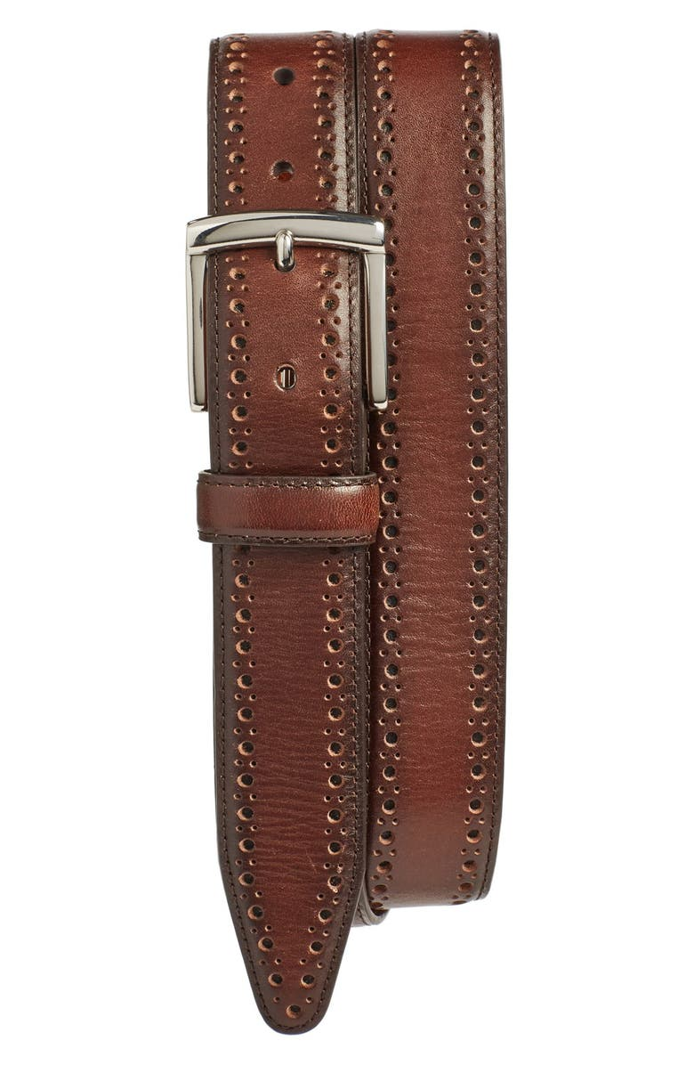 JOHNSTON & MURPHY Perforated Leather Belt, Main, color, MAHOGANY