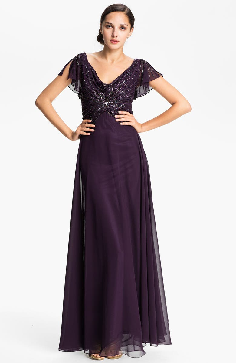 J KARA Embellished Drape Bodice Chiffon Gown, Main, color, 500