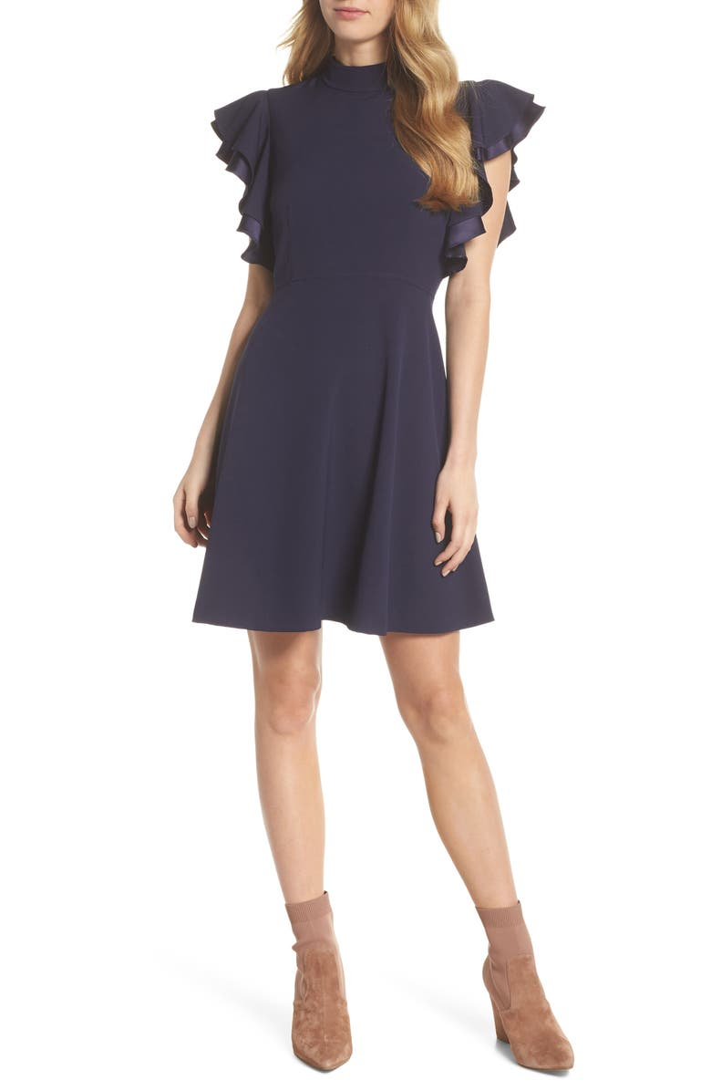 CHELSEA28 Crepe Fit & Flare Dress, Main, color, 410