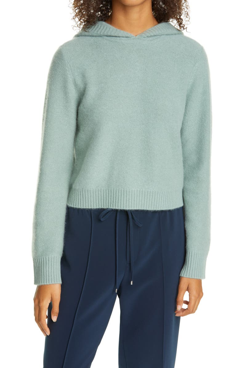 CLUB MONACO Boiled Cashmere Crop Hoodie, Main, color, GREEN