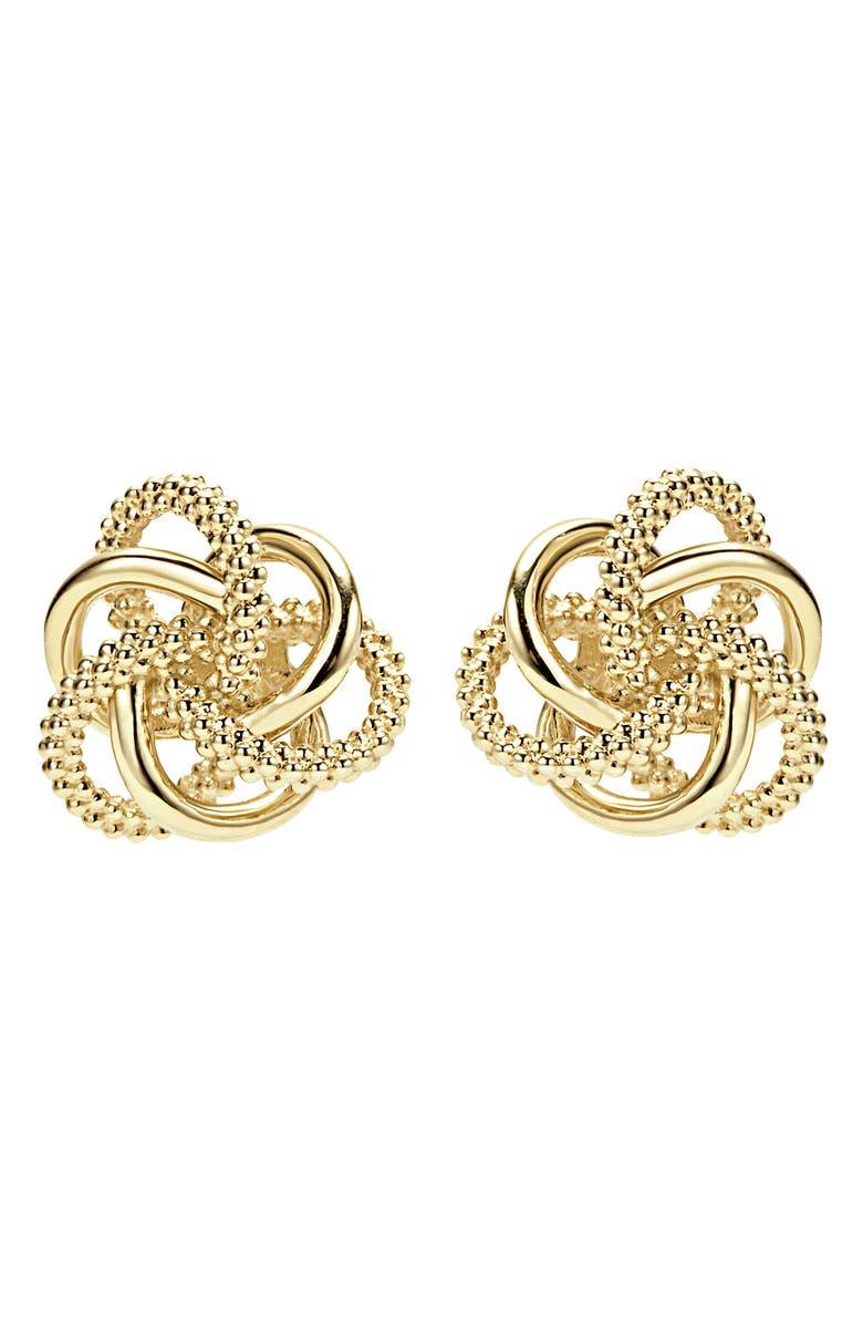LAGOS 'Love Knot' 18k Gold Stud Earrings, Main, color, Gold