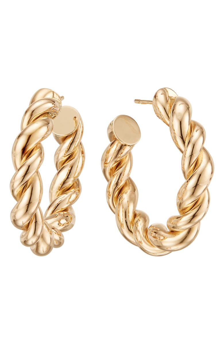 LANA JEWELRY Braided Royale Hoop Earrings, Main, color, YELLOW GOLD