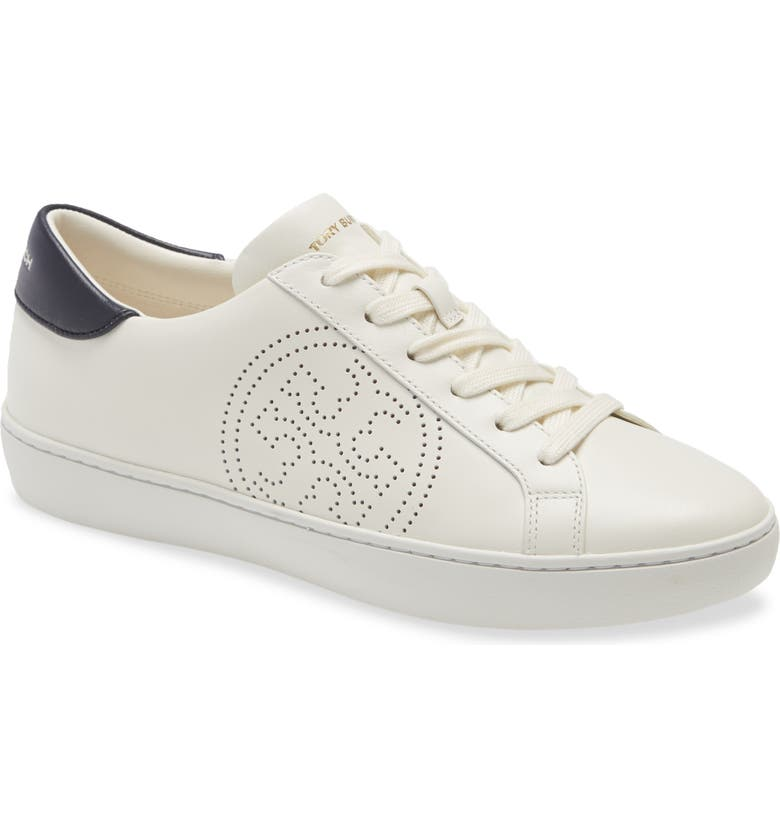 TORY BURCH Leigh Sneaker, Main, color, NEW IVORY/ PERFECT NAVY