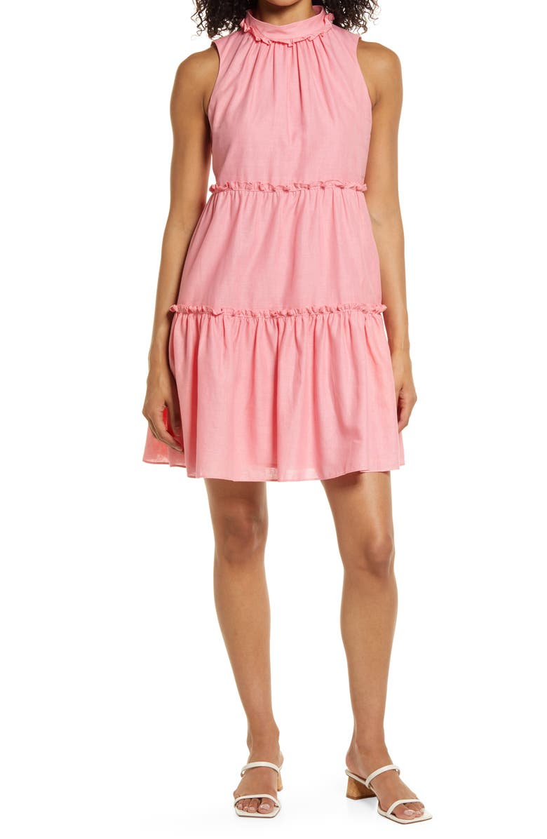 VINCE CAMUTO High Neck Sleeveless Ruffle Dress, Main, color, PINK