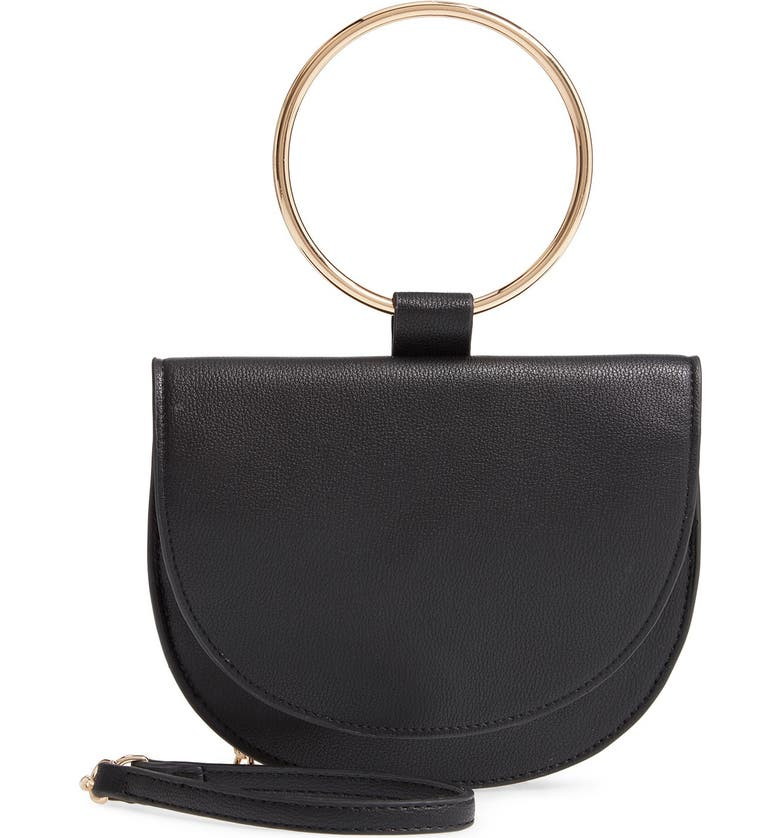 TROUVE Reese Faux Leather Ring Crossbody Bag, Main, color, BLACK