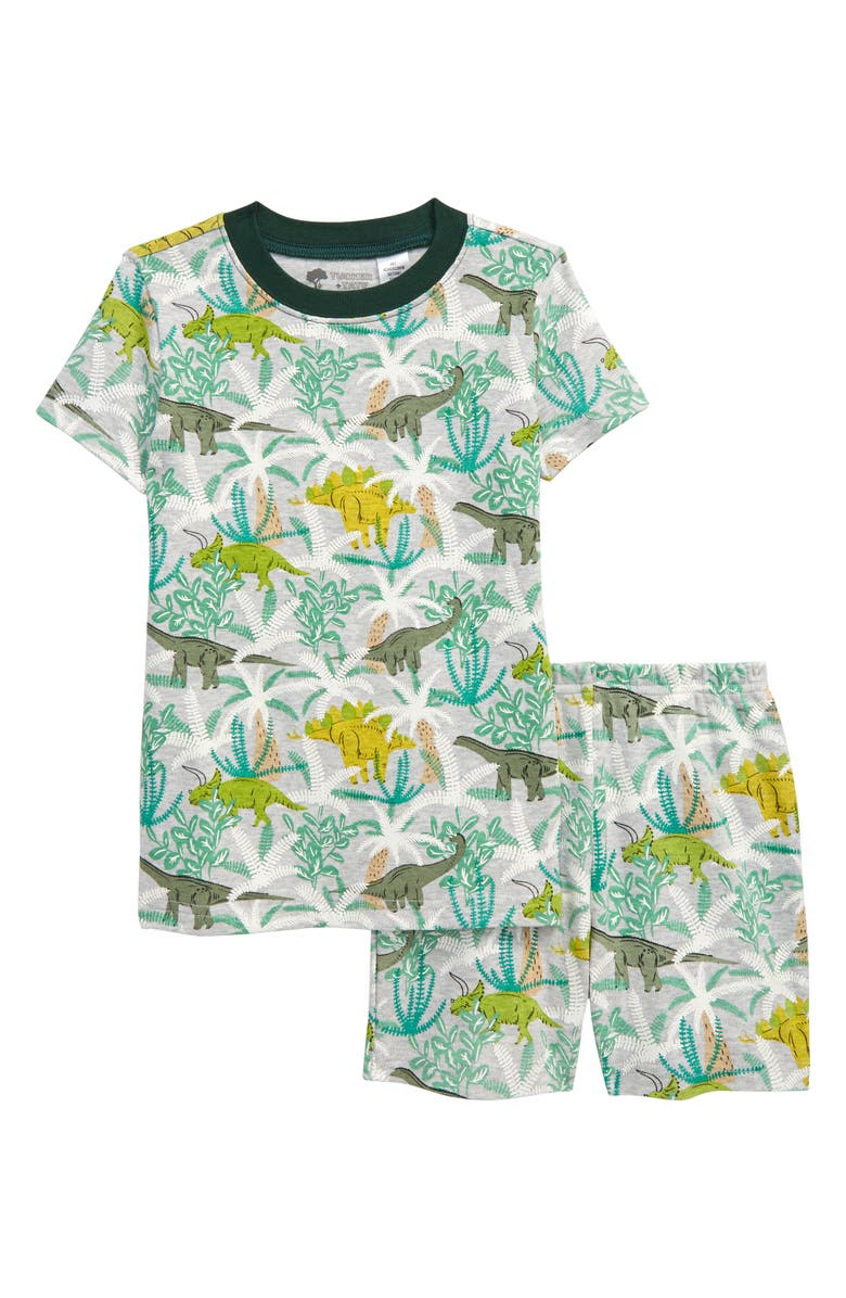 TUCKER + TATE x Smithsonian Kids' Glow in the Dark Fitted Two-Piece Short Pajamas, Main, color, GREY DINO FLORAL