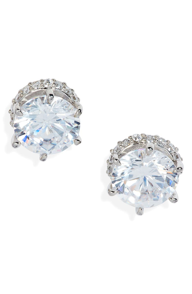 NORDSTROM 2ct tw Halo Cubic Zirconia Sterling Silver Stud Earrings, Main, color, CLEAR- SILVER