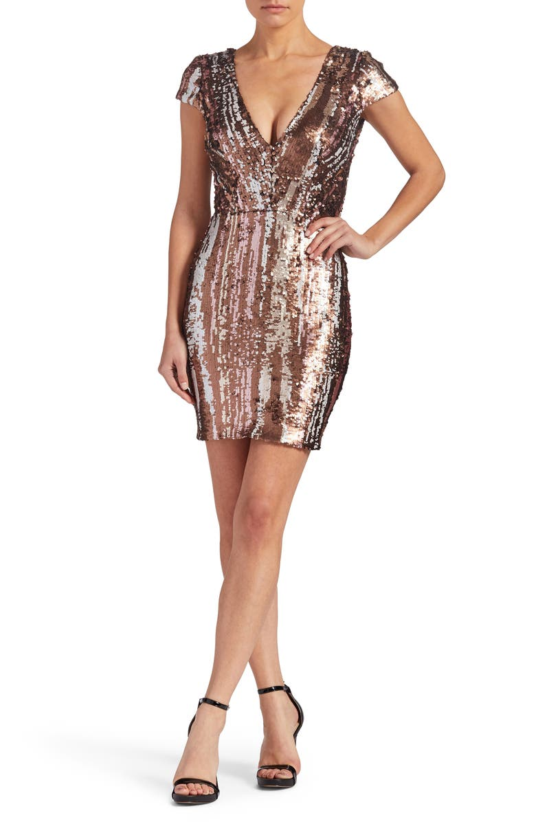 DRESS THE POPULATION Zoe Sequin Minidress, Main, color, 222