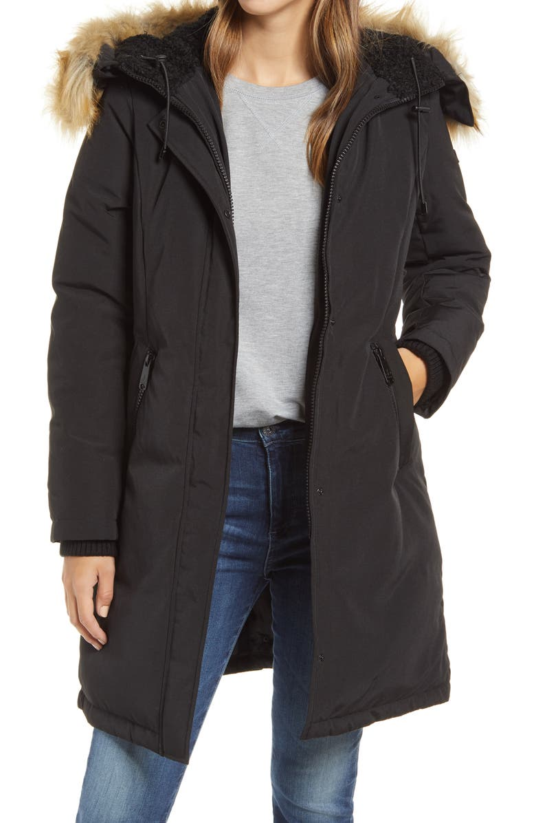 SAM EDELMAN Faux Fur Trim Down Parka, Main, color, BLACK
