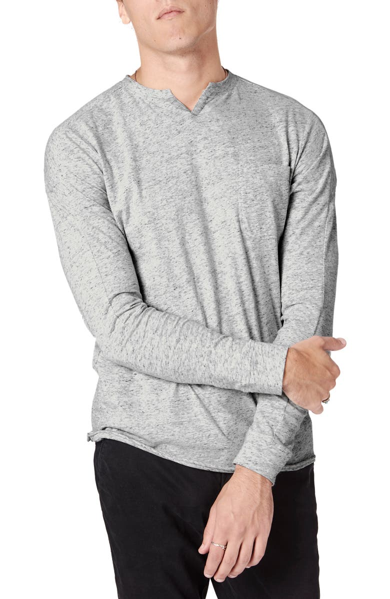 GOOD MAN BRAND Victory Slim Fit Notch Neck Long Sleeve T-Shirt, Main, color, SILVER HEATHER