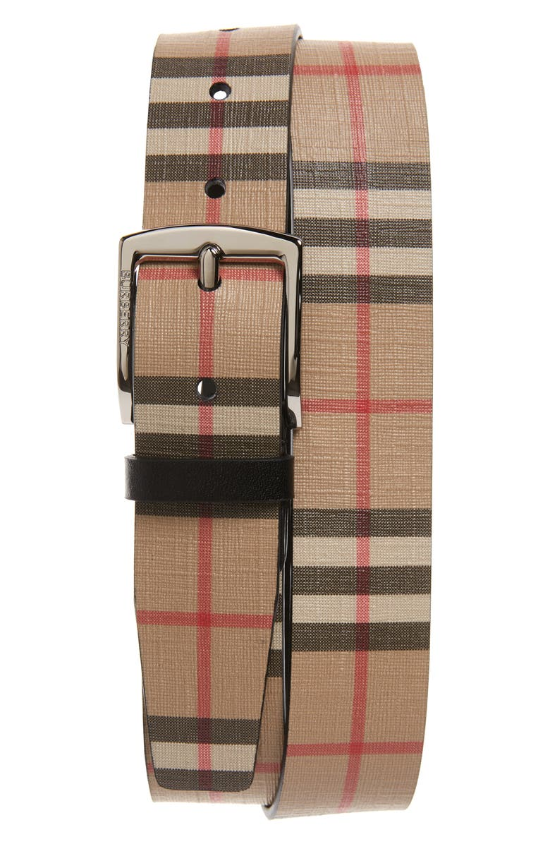 BURBERRY Check Belt, Main, color, ARCHIVE BEIGE