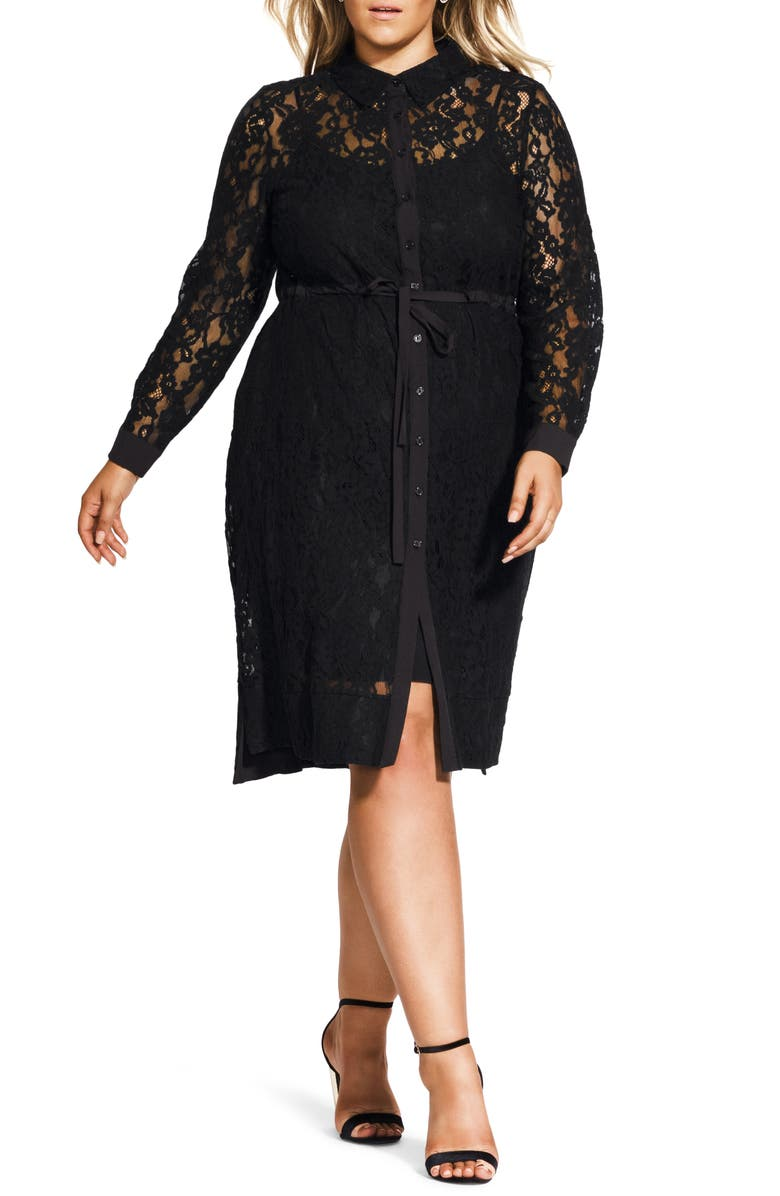 CITY CHIC Noble Lace Long Sleeve Shirtdress, Main, color, 001