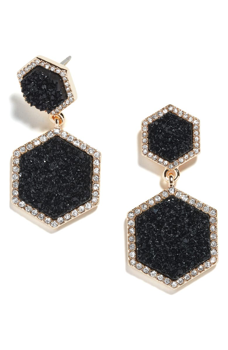 BAUBLEBAR Ashaya Hexagon Drusy Drop Earrings, Main, color, 001