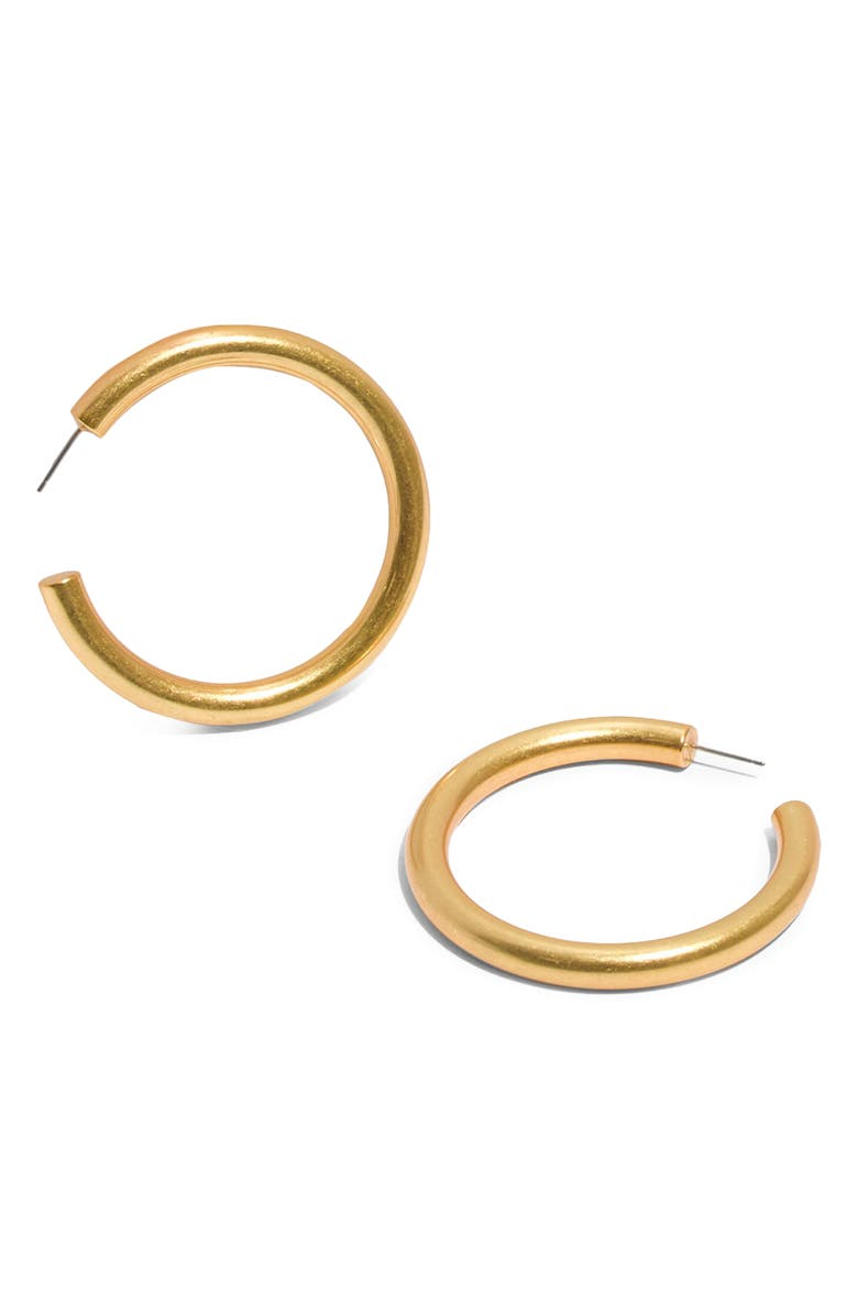 MADEWELL Chunky Oversize Hoop Earrings, Main, color, VINTAGE GOLD