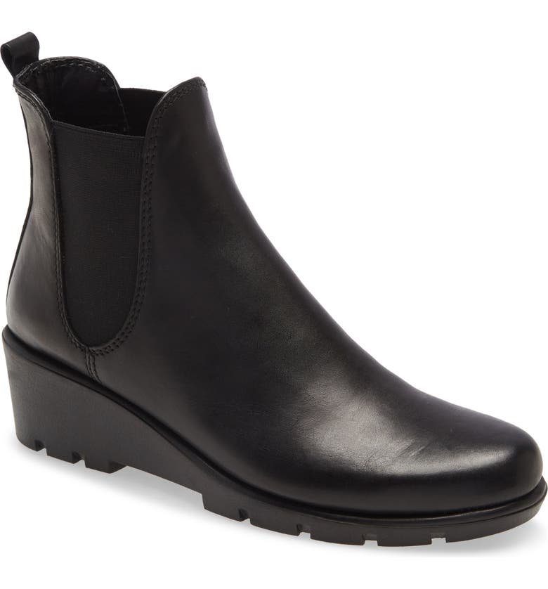 THE FLEXX Slimmer Chelsea Wedge Boot, Main, color, BLACK LEATHER