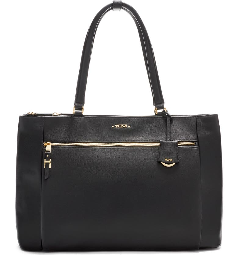 TUMI Voyageur Sheryl Leather Business Tote, Main, color, 001