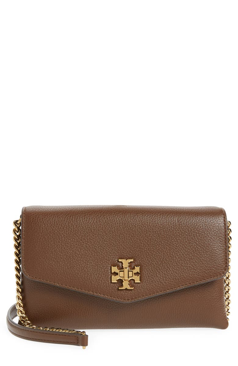 TORY BURCH Kira Pebble Leather Wallet on a Chain, Main, color, FUDGE