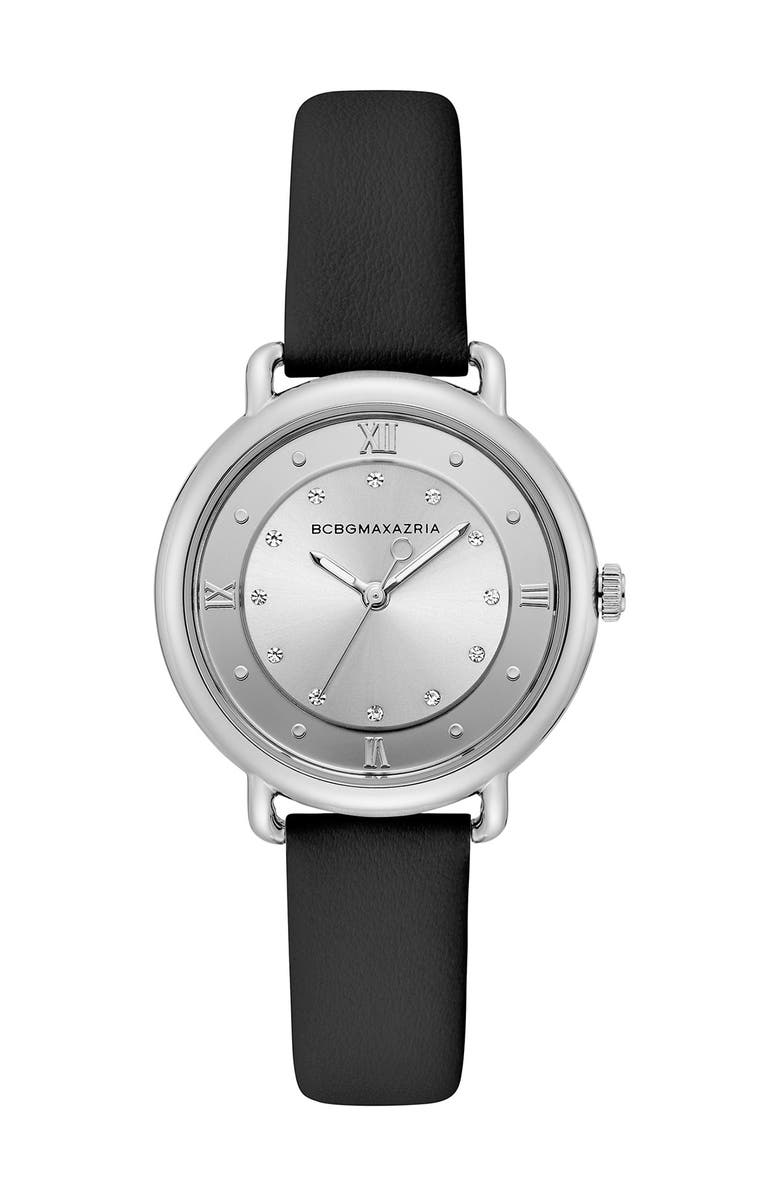 BCBGMAXAZRIA Women's Silver Crystallized Dial Leather Watch, 34mm, Main, color, BLACK