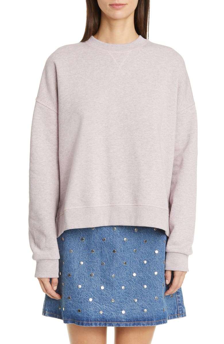 GANNI Isoli High/Low Cotton Blend Sweatshirt, Main, color, CHERRY BLOSSOM